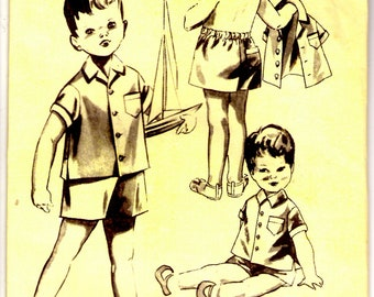 1950s Maudella Sewing Pattern No 1306 for Boys Buster Suit Size 2-3 years