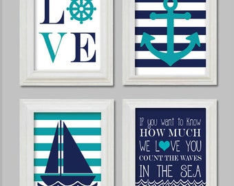 8X10 - Nautical Nursery Art Prints - Little boy nursery - Anchor and sailboat - Count the waves in the sea - Printable