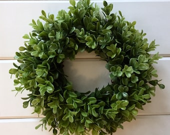 Farmhouse Faux Greenery Boxwood Wreath | Small Wreath | Fixer Upper Decor
