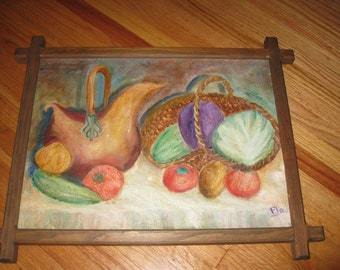 "ORIGINAL OIL PAINTING On Canvas Signed Flo Still Life In Adirondack Style Frame 13"" x 17"""