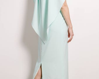 Cape-effect embellished stretch-crepe gown Evening dress Glamorous gown Light-blue dress Maxi dress Cape dress Prom dress Cape gown