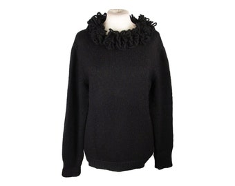 Authentic CHRISTIAN DIOR TRICOTS Vintage Black Wool Knit Sweater
