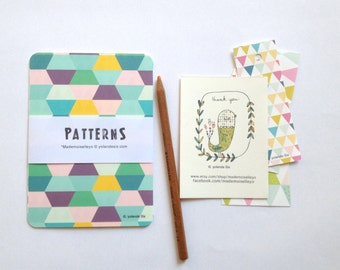 Cards geometric blue pattern, 4 geometric patterns cards - size 4 x 6 inch - 10, 5 x 15 cm - rounded corners cards