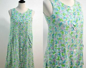 Blue Purple Floral | Medium | 1960s Flower Power Shift Dress | Day Dress | Large Button Mini Dress | Mod | House Dress | Sleeveless Sundress