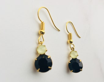 Jet black and matte yellow drop earrings