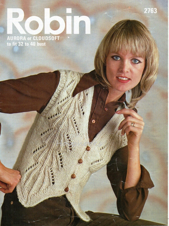 Womens Lacy Fitted Waistcoat Knitting Pattern 32 40inch Aran