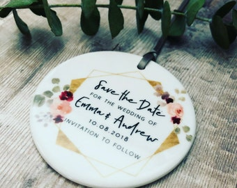 Personalised Save the Date Wedding Decoration Floral....Round Ceramic Ornament ... - Keepsake Decoration