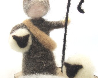 A shepperd and his sheep , Wool Needle Felt Miniature , Waldorf Art, Home Decor ,  Nature Table
