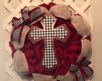Red Burlap Wreath With Houndstooth Cross - Front Door Wreath - Houndstooth Wreath - Alabama Crimson Tide - Alabama Roll Tide - Houndstooth