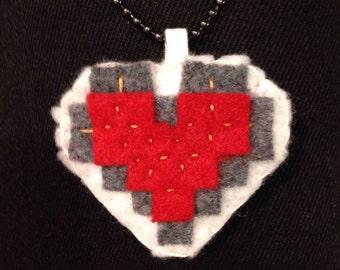 Felt Pixelated Red Half/Full Heart Necklace