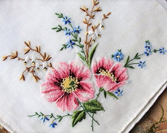GORGEOUS Vintage Petit Point Handkerchief Hanky Finest Workmanship Hankie, Hand Embroidery,Perfect For Bride, Collector of Vintage Hankies