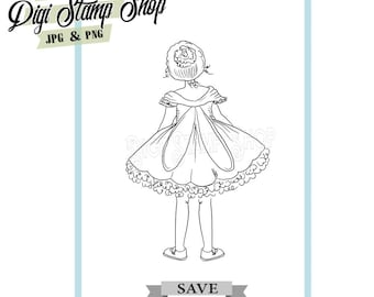 Fairy from behind Stamp, Digital Stamp, Fairy Stamp 1, Digi Stamp, Girl Stamp, Color In Page, Card Design, Lineart, Back of fairy stamp,