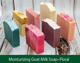 All Natural Moisturizing Goat Milk Soap Floral Scents-handmade natural body products great for sensitive skin, scented w/ essential oils