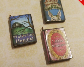 """Miniature Book Charms Wood Charms Classic Book Charms Set of 3 1"""" Library Charms Librarian Charms"""