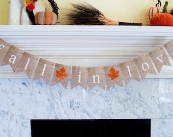 Fall in Love Burlap Banner, Fall in Love Banner, Fall Wedding Decor, Fall Decor, Fall Bridal Shower Banner, Fall Wedding Photo Prop, B153