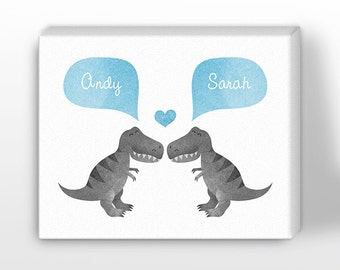 CANVAS Print, T-Rex Dinosaur Couple Wall Art, Personalized Valentines Gift for Him, for Her, Wedding Gift, Engagement Gift, Anniversary Gift