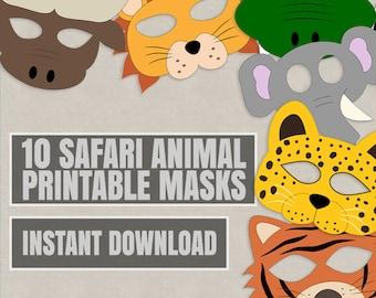 10 Safari Animal Mask Printables, kid's safari masks, printable ideas for kids, instant download kid's craft diy tiger mask, lion, leopard