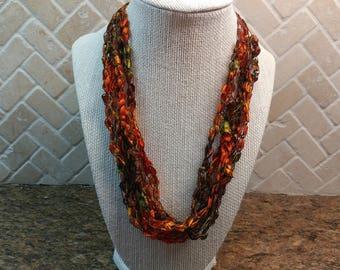 Ladder Yarn Necklace, Crochet, Adjustable