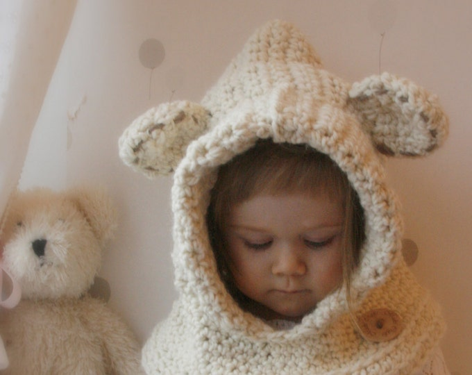 CROCHET PATTERN hooded cowl Polar bear Bessy (baby/toddler/child/adult sizes)