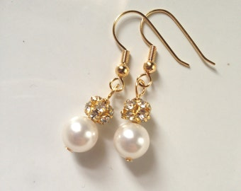 Gold Rhinestone Earrings, Gold Bridal Earrings, Gold Earrings, Gold Pearl Earrings, Gold Bridesmaid Earrings 0125
