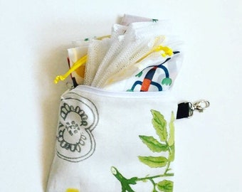 VEGAN Zero Waste Shopping Kit With Forrest Herbs / 5 Bulk Shopping Bags With a Pouch / Set of 5 Different Produce Shopping Bags
