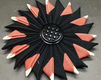 Black and Coral Cocarde Cockade With Black Glass Button
