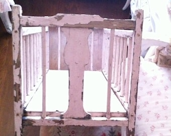 Vintage chippy pink baby doll wood crib bassinet