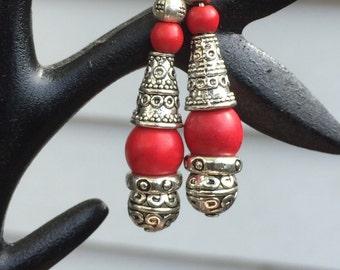 Natural Red Gemstone Earrings
