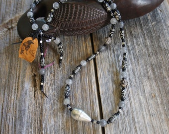 Carved bone, vintage silver, grey quartz and recycled glass beads necklace