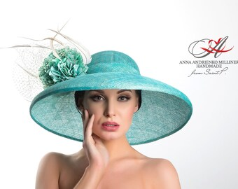 "Royal ascot/Sinamay hat with broad brim ""Mint Turquoise""/Hat for horse racing/Royal ascot hats/Ascot hat/Sinamay hat/Kentucky derby"