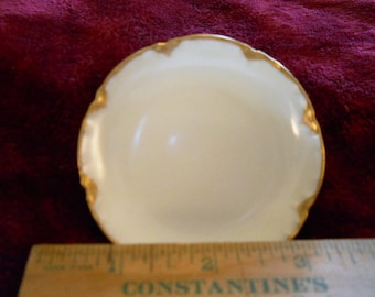 Vintage Haviland France Butter Pat Plate Very pretty hand painted 14k gold trim Collectable Shabby Chic