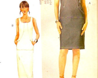 Plus size Dress sewing pattern fitted straight style for spring summer Vogue 7275 Woman Sz 18 to 22 UNCUT