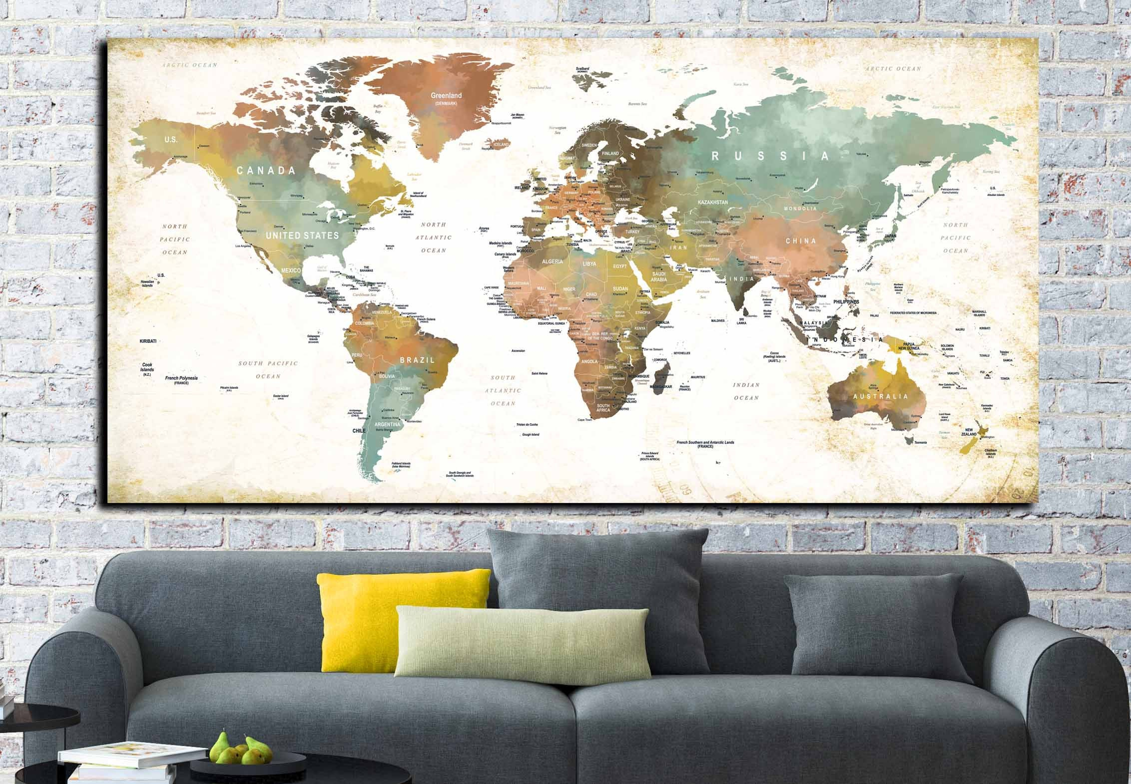 World map wall artworld map canvasworld map largeworld map push world map wall artworld map canvasworld map largeworld map push pinkids room artworld map printworld map panelworld map watercolor gumiabroncs Images