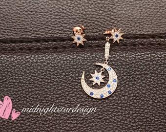 Moon Star Asymmetrical Earrings, Sapphire Earrings, Moon Earrings, Star Earrings, Cubic Zirconia Earrings, Crescent Earrings