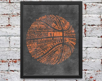 PERSONALIZED BASKETBALL Coach Gift - Basketball Wall Decor - Basketball Senior Gift - Basketball Art - Basketball Gift  Basketball Team Gift