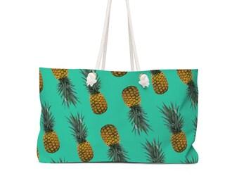 The 'Pineapple' Weekender Bag - Festival Bag - Beach Bag - Pineapple Print - Travel Bag - Festival Clothing