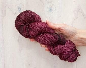 Hand dyed yarn, merino yarn, nylon yarn, dk yarn, hand dyed dk yarn, semi solid yarn, maroon yarn, burgundy yarn, red yarn, dk yarn
