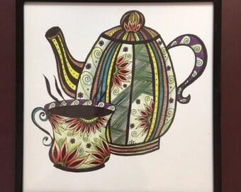 Teapot & Cup Art, Kitchen Wall Art, Artistic Print, Cup of Tea, Gift for Women, Teapot Lovers, Tea Party, Thank You Gift, Tea Time Art Print