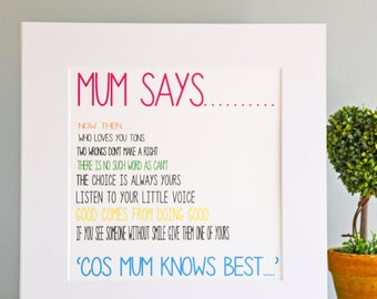 Personalised Print for Mum, Mum Birthday Gift, Mum Gift, Personalised Mum Gift, Mum Print, Mum Wall Art, Wall Art,