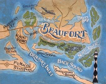 Art Print: Beaufort NC Crystal Coast Map Print Carteret County, North Carolina, Crystal Coast, Cape lookout, Beach Decor, Nautical Decor