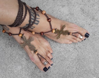Cross Barefoot Sandals By Iris naked shoes foot accessory boho bohemian jewelry hippie love God symbol
