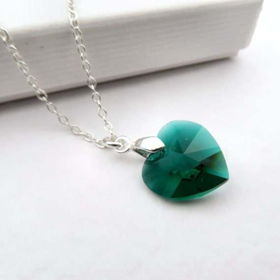 Emerald heart necklace green swarovski elements crystal emerald heart necklace green swarovski elements crystal emerald pendant on sterling silver chain green crystal pendant emerald birthstone aloadofball Images