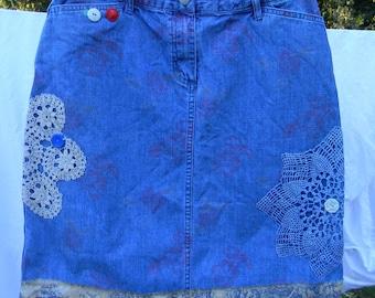 Embellished Jean Skirt, Size 6