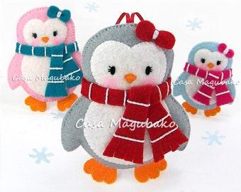 PDF Pattern - Penguin Felt Pattern - Felt Penguin Sewing Pattern - Penguin Ornament, Penguin Embellishment - 3 Sizes - Christmas Decoration