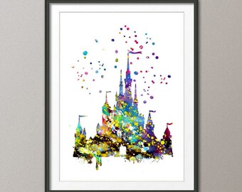 Disney Castle Illustrations,Watercolor Art ,Print , Wall ,Decor,Disney Cinderella Print Giclee ,Wall Decor, Art ,Home Decor