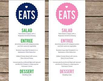 Printable MOD MENU for weddings, showers and parties - Lovely Little Party - You Choose Color
