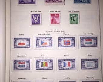 SALE Scott 1940s INTERNATIONAL Postage Stamp Album with Worldwide Stamps including U.S.A. Stamps