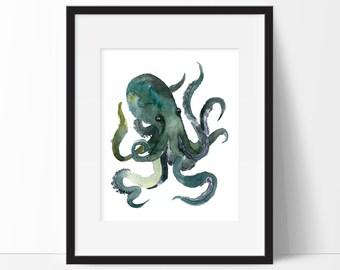 Octopus Art, Nautical Bathroom Wall Decor, Nautical Watercolor Art, Nautical Nursery Decor, Bathroom Prints, Kids Bathroom, PRINTABLE 8x10