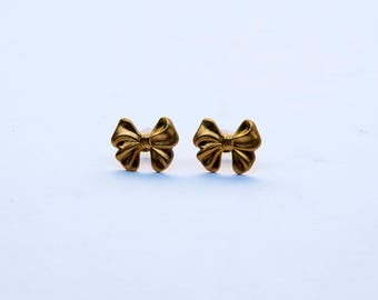 Brass Bows Earrings studs - gold plated