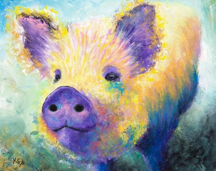 Pig Painting Pig Decor Farm Animal Art Pigs Abstract Pig